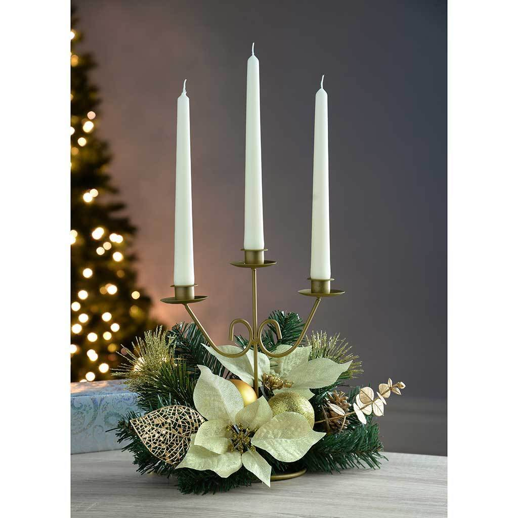Decorated Triple Tape Candle Holder Table Christmas Decoration, 25 cm - Cream/Gold