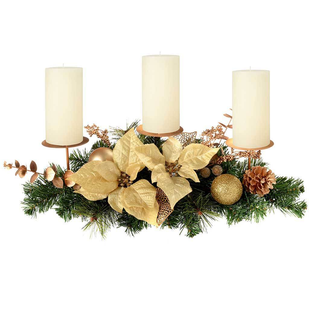 Decorated Table Centre Piece with 3 Pillar Candle Holder, 52 cm - Cream and Gold