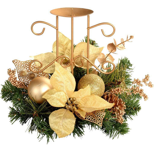 22 cm Decorated Table Centre Piece with Single Pillar Candle Holder Christmas Decoration, Cream/ Gold