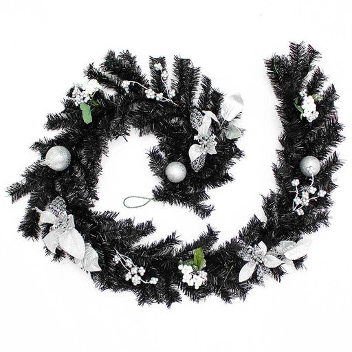 Decorated Garland Christmas Decoration, 6 ft - Black/Silver