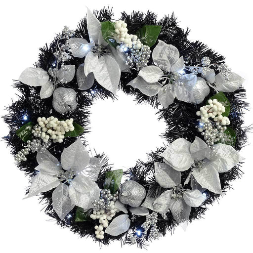Decorated Pre-Lit Wreath Illuminated with 20 Cool White LED Lights, 60 cm - Black/Silver