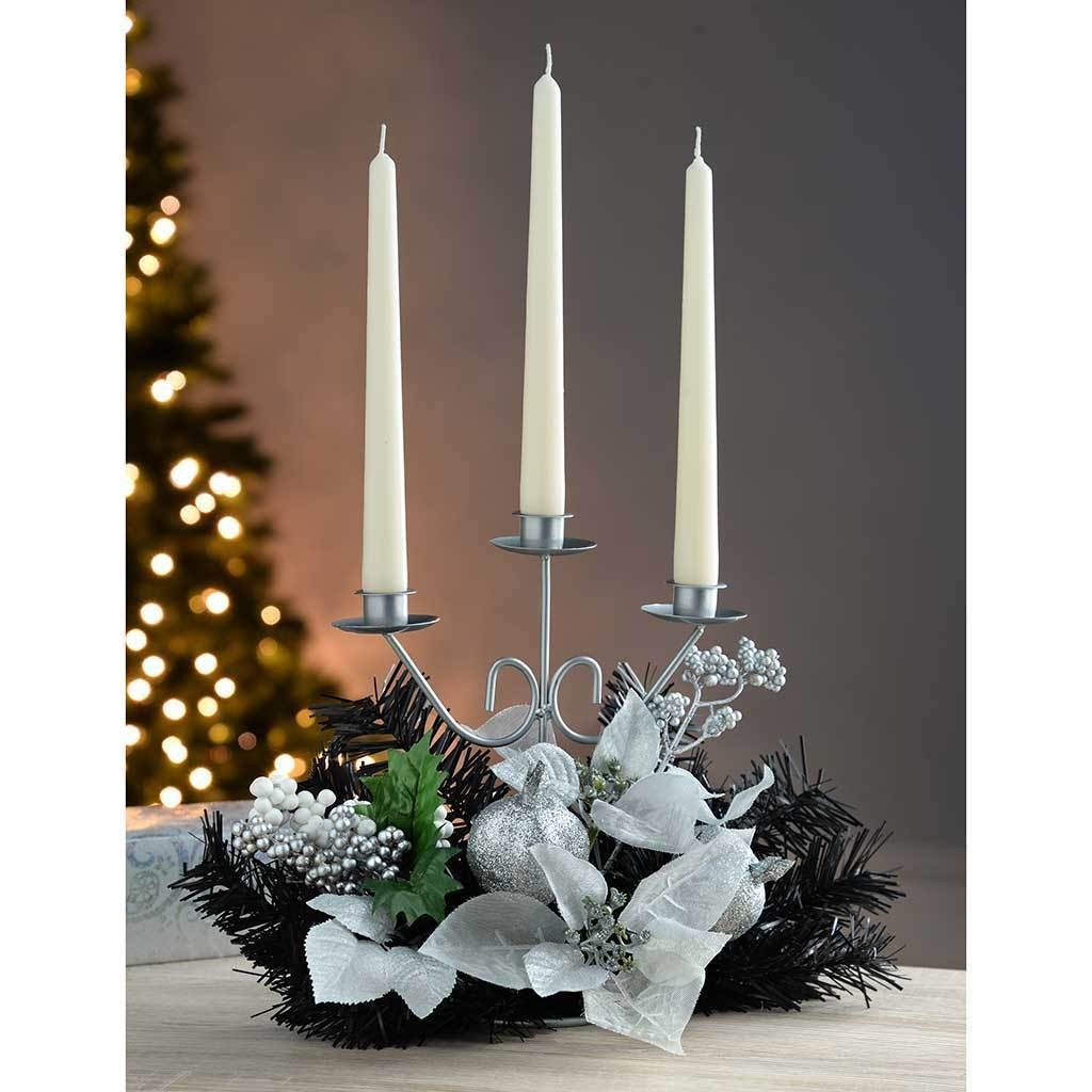 Decorated Triple Tape Candle Holder Table Christmas Decoration, 22 cm - Black/Silver