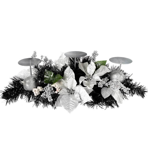Decorated Table Centre Piece with 3 Pillar Candle Holder, 52 cm - Black and Silver