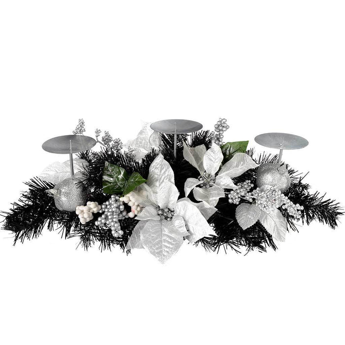 Decorated Table Centre Piece with 3 Pillar Candle Holder, 52 cm - Black and Silver | WeRChristmas