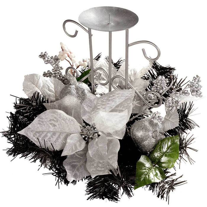 22 cm Decorated Table Centre Piece with Single Pillar Candle Holder Christmas Decoration, Black/ Silver