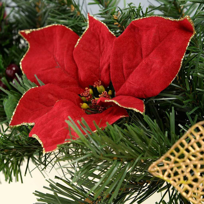 6 ft Decorated Garland Christmas Decoration, Red/ Gold