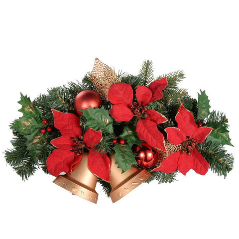 Decorated Twin Bell Wall Christmas Decoration, 30 cm - Red/Gold