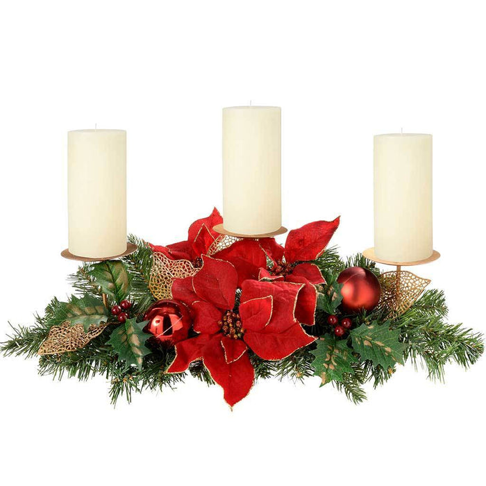 Decorated Table Centre Piece with 3-Pillar Candle Holder, 52 cm - Red/Gold