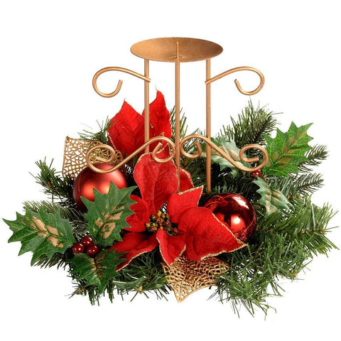 Decorated Table Centre Piece with Single Pillar Candle Holder, 22 cm - Red/Gold