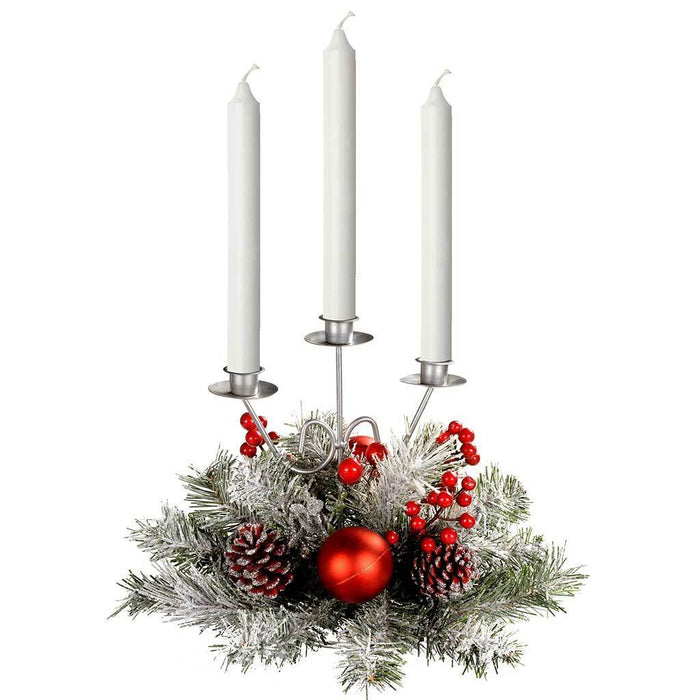 Decorated Triple Tape Candle Holder Table Christmas Decoration, 22 cm, Frosted