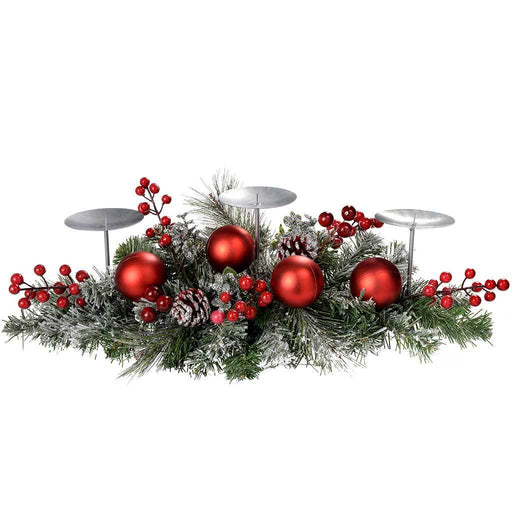 52 cm Frosted Decorated Table Centre Piece with 3 Pillar Candle Holder Christmas Decoration