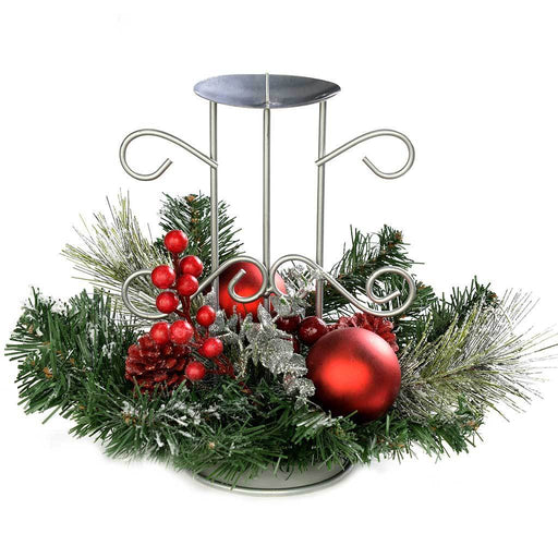 Frosted Decorated Table Centre Piece with Single Pillar Candle Holder, 22 cm