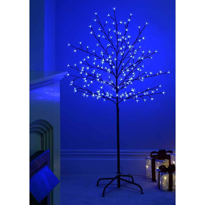 1.5 m/ 5 ft Pre-Lit 200 LED Illuminated Cherry Blossom Tree with Brown Trunk and Branches, Blue