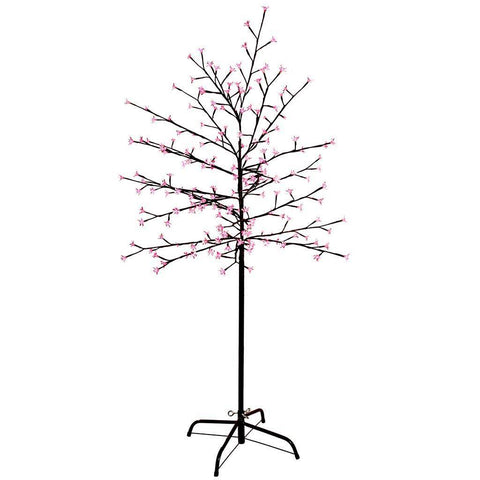 1.5 m/ 5 ft Pre-Lit 200 LED Illuminated Cherry Blossom Tree with Brown Trunk and Branches, Pink