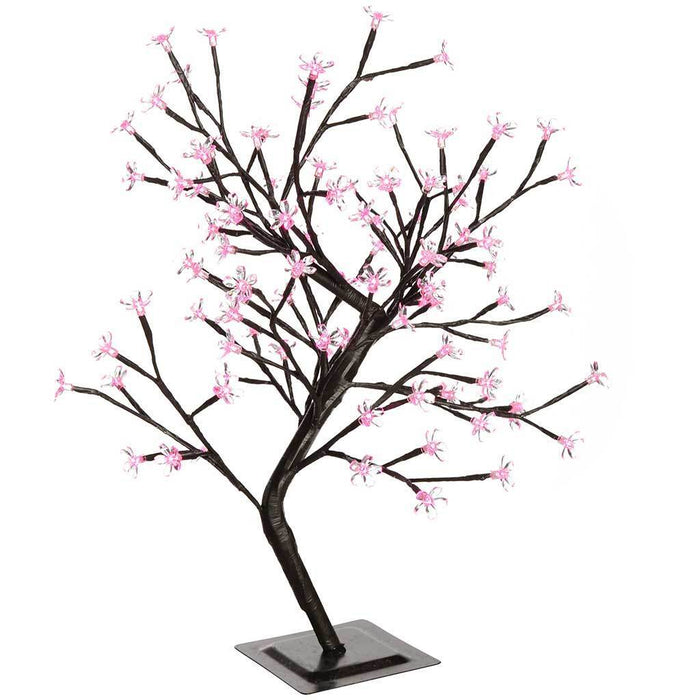 Pre-Lit Illuminated Cherry Blossom Tree with 96-LED, 2 ft/60 cm - Pink