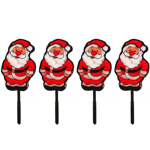 Father Christmas Garden Pathway Christmas Lights, 48 LED Double Sided, Set of 4