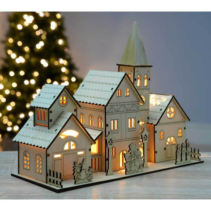 Pre-Lit Wooden Church Scene Illuminated with 4 Warm LED Lights, 28 cm - Large, White