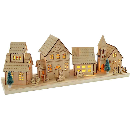 48 cm Pre-Lit Wooden Large Village Scene Illuminated with 10 Warm White LED Lights