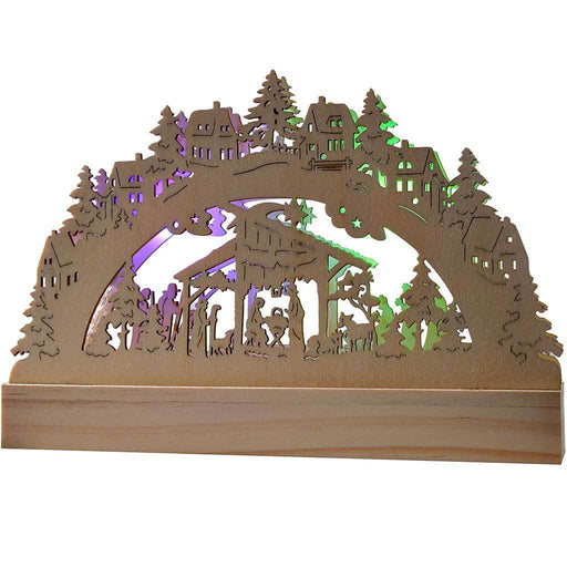 23 cm Pre-Lit Wooden Nativity Christmas Decoration Illuminated with 2 Colour Changing LED Lights