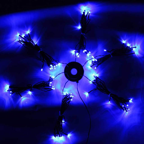 96 Organised Static LED Christmas Tree Lights, Cable Management 6 x 2 m Strings, Blue
