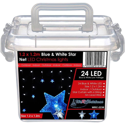 Star Window Curtain Net Christmas Lights with 24-LEDs, 1.2 x 1.2 m - Blue/White