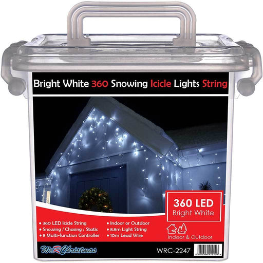 360 LED Snowing Icicle Christmas Lights String with Chasing/ Static Settings with 19 m Cable, White