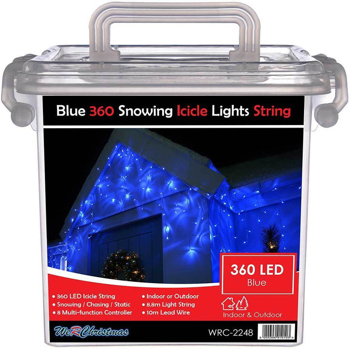 360 LED Snowing Icicle Christmas Lights String with Chasing/ Static Settings with 19 m Cable, Blue