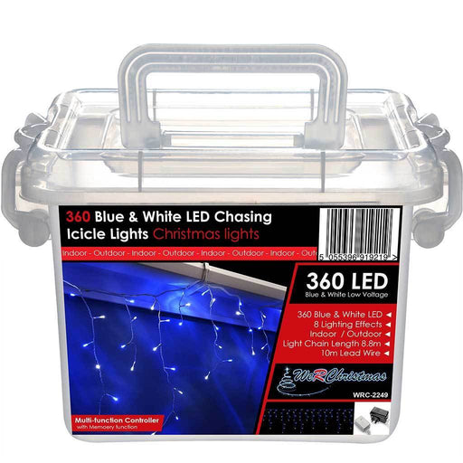 360 LED Snowing Icicle Christmas Lights String with Chasing/ Static Settings with 19 m Cable, Blue and White