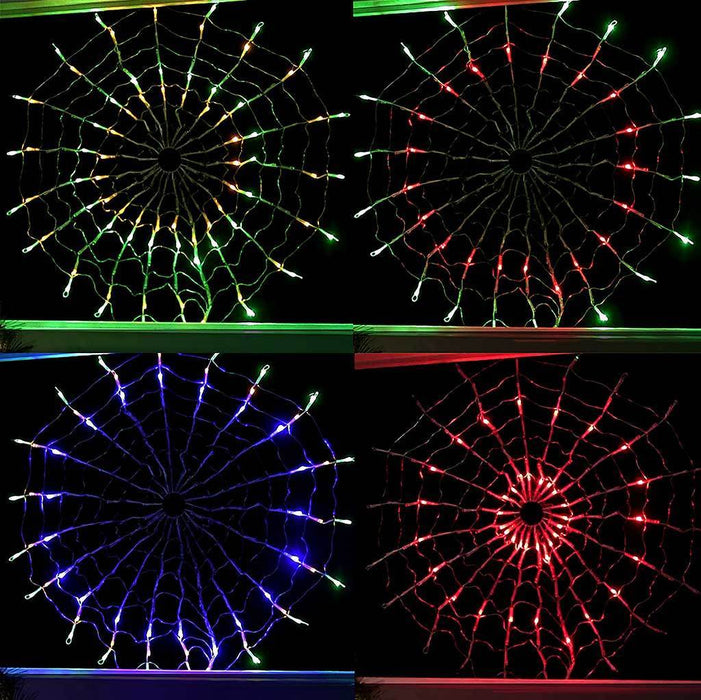 160 Multi Colour LED Chasing Circular Web Window Curtain Net Christmas Lights (suitable for Indoor / Outdoor) - Size 70cm