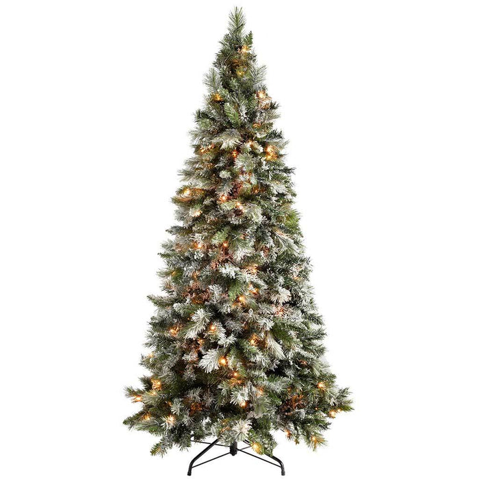 Artificial Christmas Trees Amazon Uk: WeRChristmas Pre-Lit Slim Snow Flocked Spruce Multi