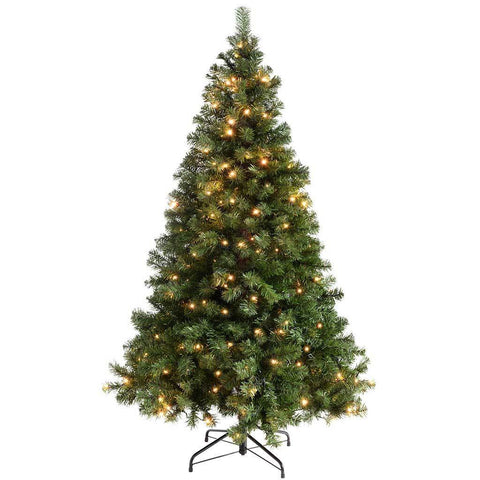 WeRChristmas Pre-Lit Spruce Multi-Function Christmas Tree with 200 Warm White LED Lights, 6 ft/1.8 m