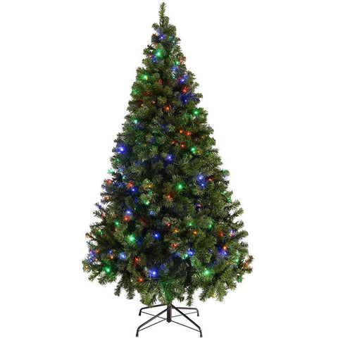 WeRChristmas Pre-Lit Spruce Multi-Function Christmas Tree, 300-LED Lights, 7 ft/2.1 m - Multi-Colour