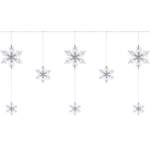 Multi-Function Snowflake Curtain Light with 48 LED - White