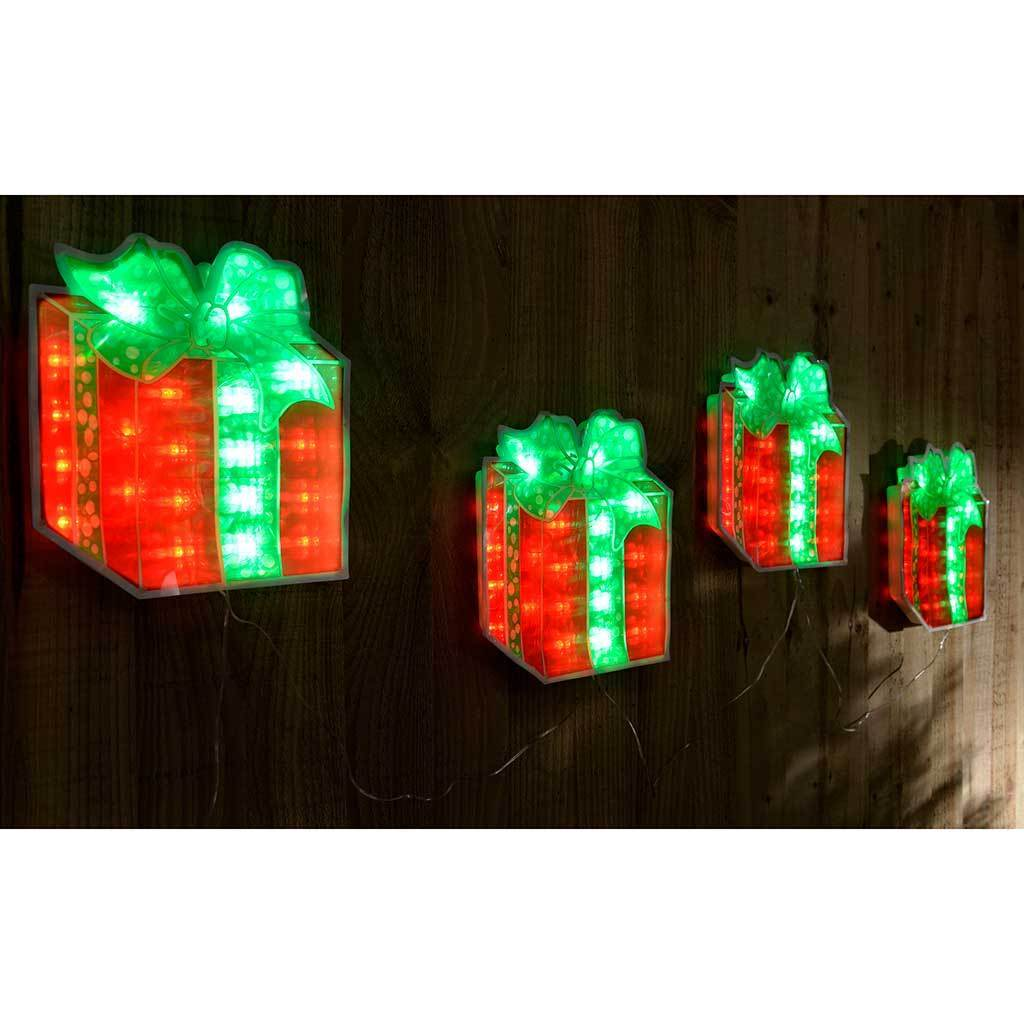 Pre-Lit LED Gift Boxes Silhouette - Red/Green, Set of 4