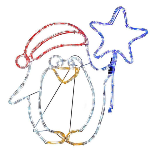 Pre-Lit LED Penguin and Star Rope Light Window Silhouette, 61 cm - Multi-Colour