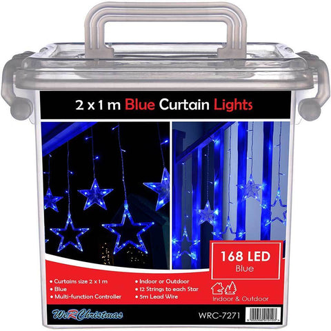 Star Flashing Chasing Window Curtain Net Lights with 168 LED, 2 m - Blue/White