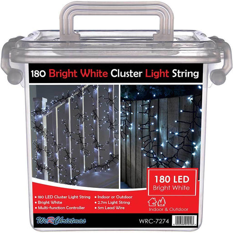 180-LED Chasing Cluster Light String, 2.7 m - Bright White