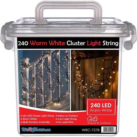 240-LED Chasing Cluster Light String, 3.6 m - Warm White