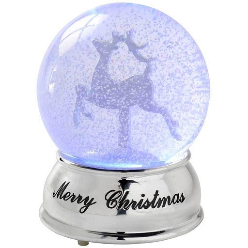 Reindeer Colour Changing Snow Globe Christmas Decoration, 13 cm - Multi-Colour