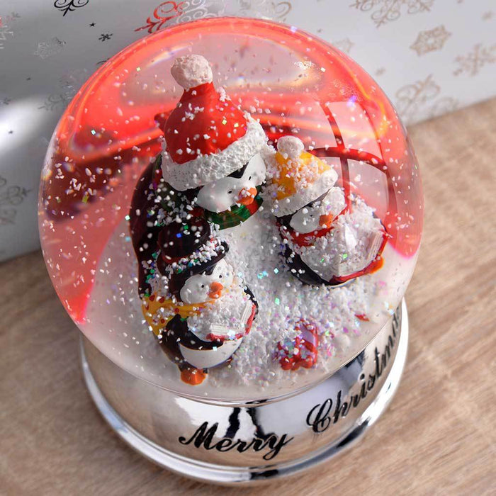 Penguin Colour Changing Snow Globe Christmas Decoration, 13 cm - Multi-Colour