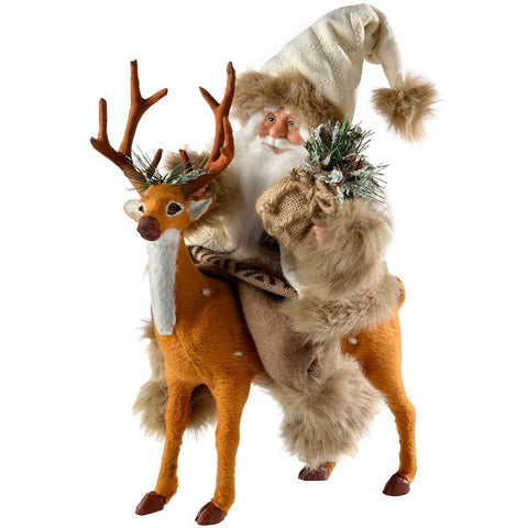 Santa Riding Reindeer Christmas Decoration, 37 cm - White/Brown