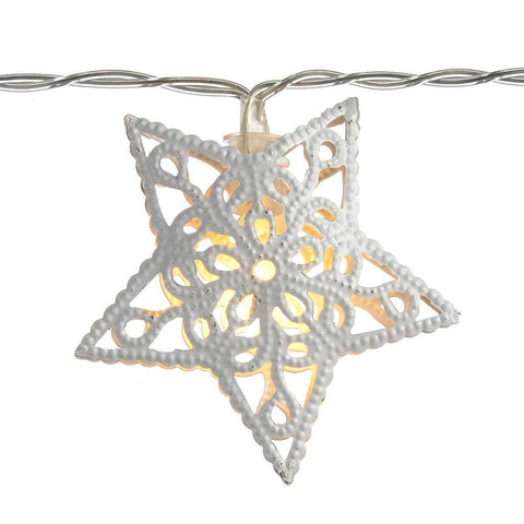 Star Light String Christmas Decoration with 10 White LED Lights - White