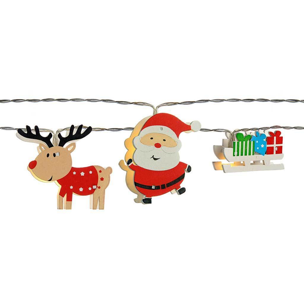 LED Santa Sleigh and Named Reindeer Light String - Multi-Colour, Set of 11