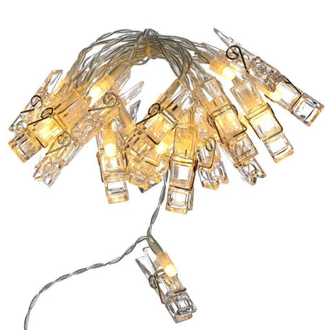 20 LED Battery Operated Card and Photo Peg Line Lights String Decoration, Warm White