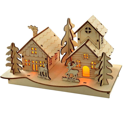 Pre-Lit Church Scene Christmas Decoration, Wood, 20 cm, Warm White