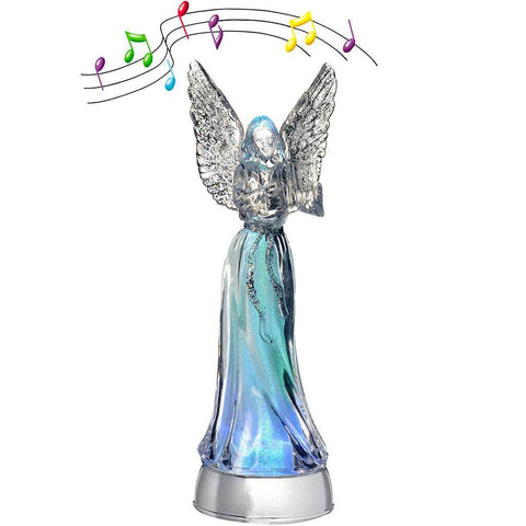 Pre-Lit Musical LED Colour Changing Angel and Harp, Acrylic, 32 cm