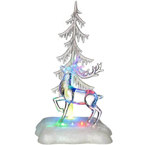 Pre-Lit Colour Changing LED Musical Christmas Tree and Reindeer Scene Decoration, Acrylic, 36 cm