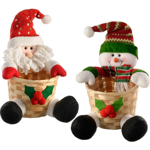 Snowman and Santa Basket Christmas Table Decoration, 22 cm - Multi-Colour, Set of 2