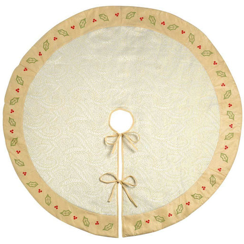 Holly and Berry Quilted Christmas Tree Skirt Decoration, 140 cm - Large, Cream