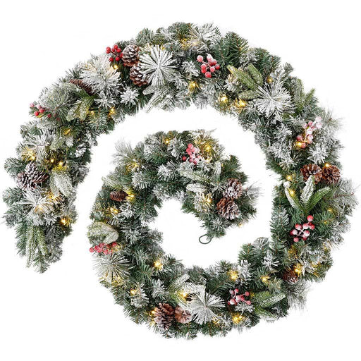 Extra-Thick Pre-Lit 80 LED Mixed Pine Snow Flocked Garland with Cones and Berries, 9 ft